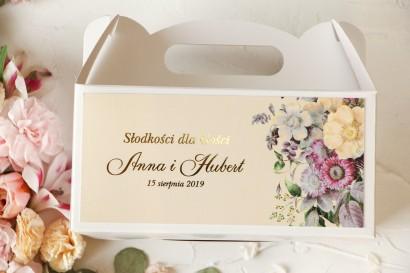 Ślubne Pudełko na Ciasto - prostokątne - ze złoceniami oraz z z eleganckim bukietem w stylu vintage