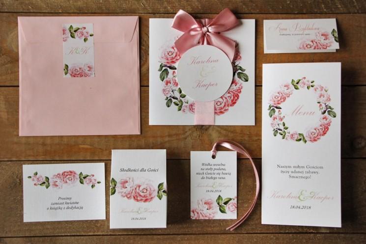 Zaproszenie ślubne z dodatkami - Akwarele nr 19 - Jasnoróżowe róże