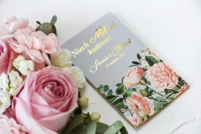 Nasiona Ślubne - Podziękowania dla gości, złocone opakowanie z z eleganckim bukietem z drobnych, pudrowych róż