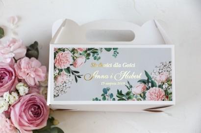 Pudełko na ciasto weselne z grafiką pastelowych róż