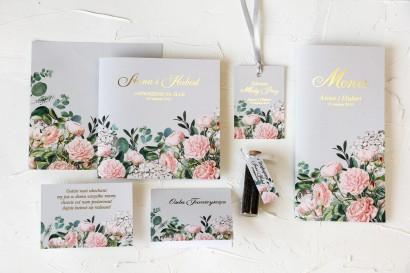 Zestaw próbny zaproszeń ślubnych wraz z podziękowaniami dla gości i dodatkami ślubnymi - Szafirowe nr 2