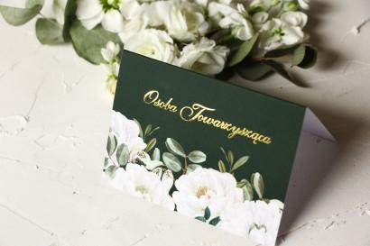 Kwiatowe Winietki Ślubne ze złoceniami oraz z eleganckim bukietem z białych róż i piwonii