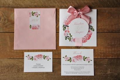 Zaproszenie ślubne z bilecikami - Akwarele nr 19 - Romantyczny wzór delikatnych róż