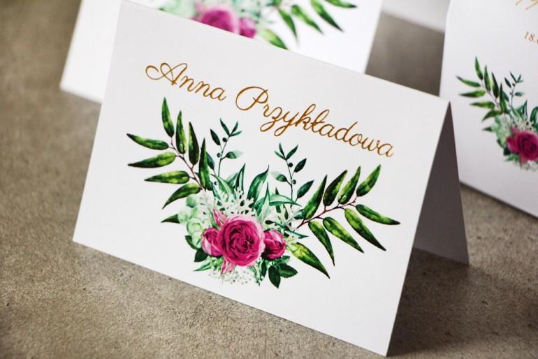 Winietki na stół weselny, ślub - Cykade nr 4 ze złoceniem - Róże z odcieniach fuksji w otoczeniu zieleni