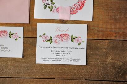 Bilecik do zaproszenia 120 x 98 mm prezenty ślubne wesele - Akwarele nr 19 - Pudrowe róże