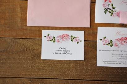 Bilecik do zaproszenia 105 x 74 mm prezenty ślubne wesele - Akwarele nr 19 - Pudrowe róże