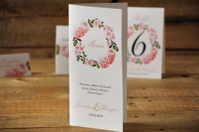 Menu weselne, stół weselny - Akwarele nr 19 - Pudrowe róże