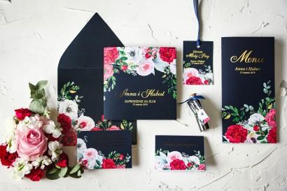 Zestaw próbny zaproszeń ślubnych wraz z podziękowaniami dla gości i dodatkami ślubnymi - Szafirowe nr 4