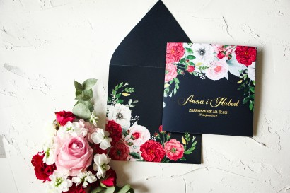 Próbne Zaproszenie Ślubne ze złoceniem z kolekcji Szafirowe nr 4