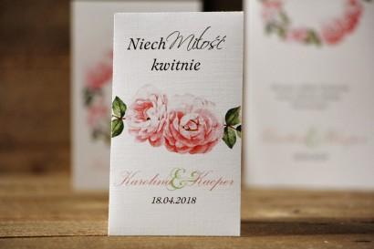 Podziękowania dla Gości weselnych - nasiona Niezapominajki - Akwarele nr 19 - Pastelowe róże