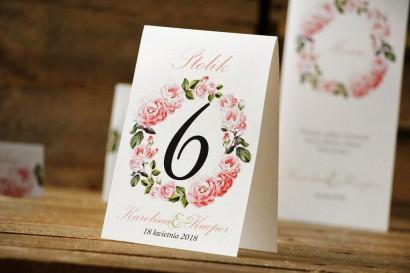 Numery stolików, stół weselny, ślub - Akwarele nr 19 - Delikatne pastelowe róże