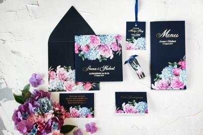 Zestaw próbny zaproszeń ślubnych wraz z podziękowaniami dla gości i dodatkami ślubnymi - Szafirowe nr 5