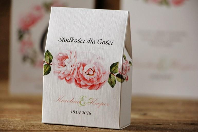 Pudełeczko stojące na cukierki, podziękowania dla Gości weselnych - Akwarele nr 19 - Pastelowe róże