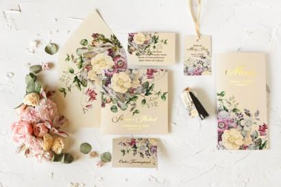 Zestaw próbny zaproszeń ślubnych wraz z podziękowaniami dla gości i dodatkami ślubnymi - Szafirowe nr 1