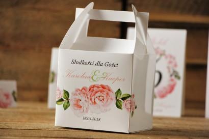 Pudełko na ciasto kwadratowe, tort weselny - Akwarele nr 19 - Pastelowe kwiaty róży
