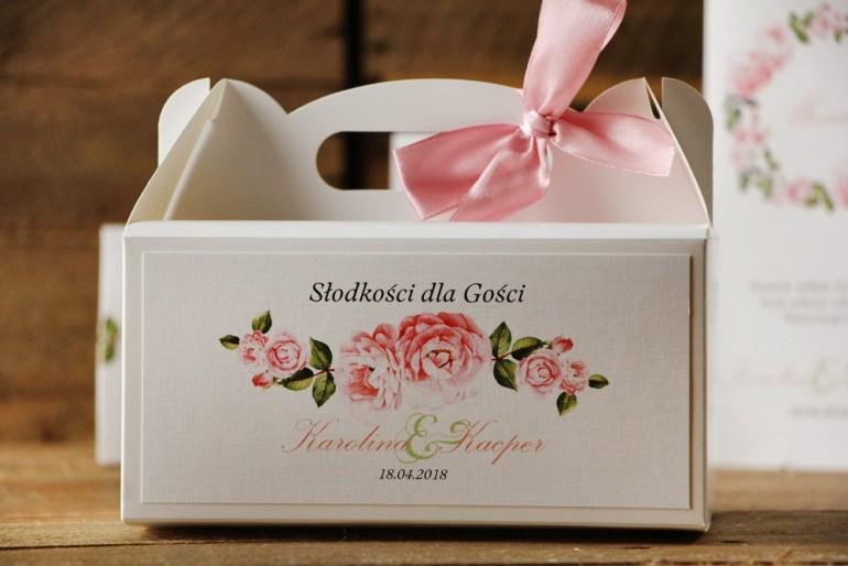 Prostokątne pudełko na ciasto, tort weselny, ślub - Akwarele nr 19 - Pastelowe kwiaty róży