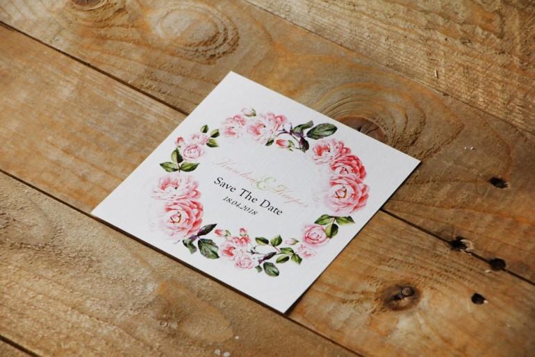 Bilecik Save The Date do zaproszenia - Akwarele nr 19 - jasnoróżowe kwiaty róż