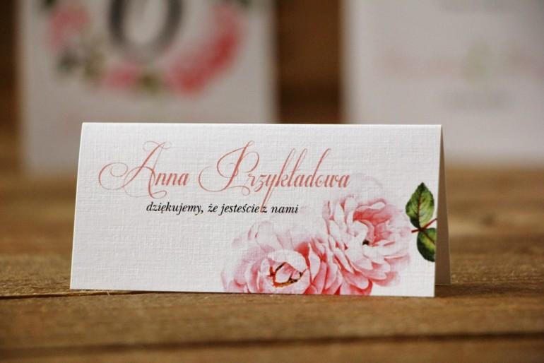 Winietki na stół weselny, ślub - Akwarele nr 19 - Pudrowe róże