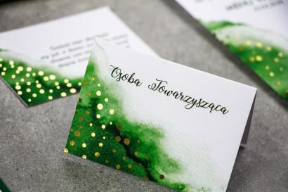 Zielone Winietki Ślubne ze złoconymi kropeczkami