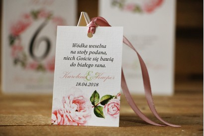 Zawieszka na butelkę, wódka weselna, ślub - Akwarele nr 19 - Pudrowe róże