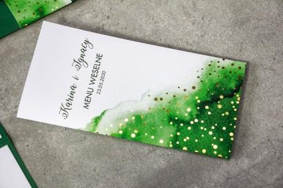Zielone Menu Ślubne ze złoconymi kropeczkami