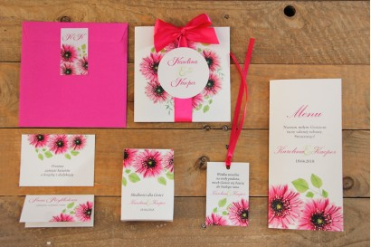 Zaproszenie ślubne z dodatkami - Akwarele nr 20 - Intensywnie różowe gerbery
