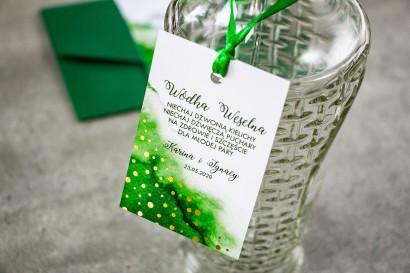 Zielone, Ślubne Zawieszki na butelki na alkohol ze złoconymi kropeczkami