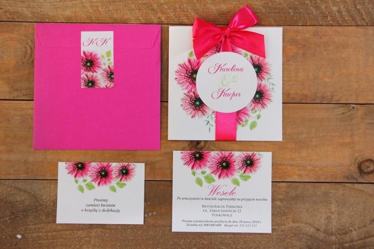 Zaproszenie ślubne z bilecikami - Akwarele nr 20 - Gerbery