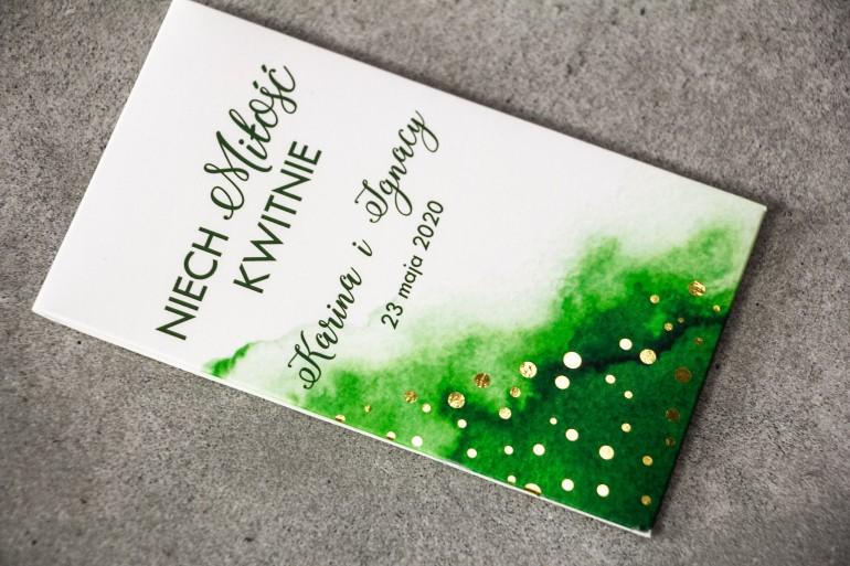 Podziękowania dla gości weselnych w formie nasion - Zielone opakowanie ze złoconymi kropeczkami
