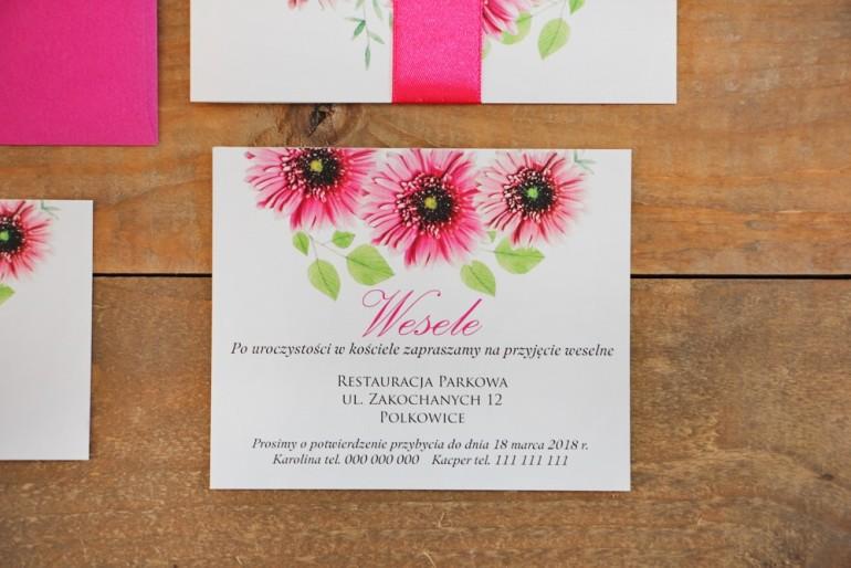 Bilecik do zaproszenia 120 x 98 mm prezenty ślubne wesele - Akwarele nr 20 - Różowe gerbery