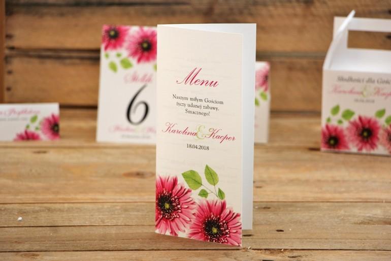 Menu weselne, stół weselny - Akwarele nr 20 - Intensywnie różowe gerbery