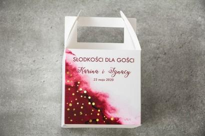 Ślubne Pudełko na Ciasto - kwadratowe - Burgundowa akwarelowa grafika ze złoconymi kropeczkami