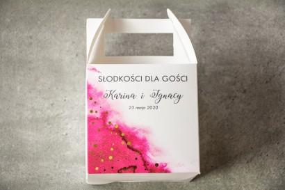 Ślubne Pudełko na Ciasto - kwadratowe - Różowa akwarelowa grafika ze złoconymi kropeczkami