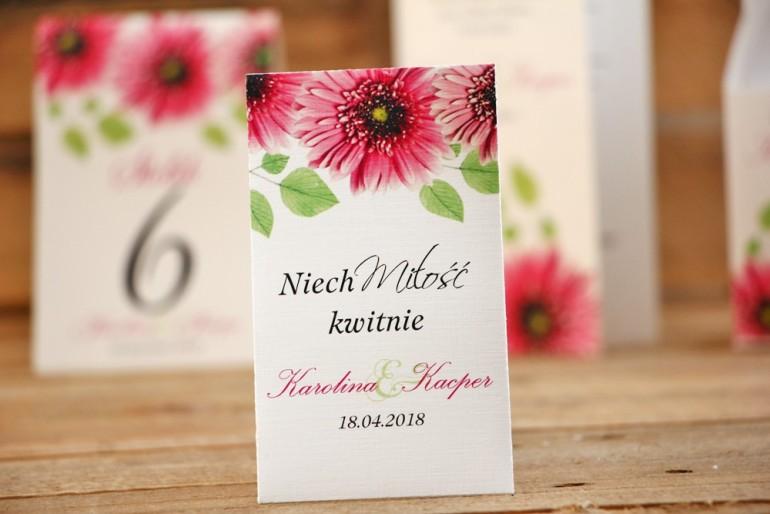 Podziękowania dla Gości weselnych - nasiona Niezapominajki - Akwarele nr 20 - Różowe gerbery
