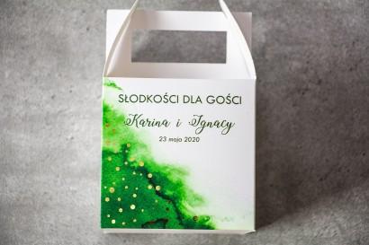 Ślubne Pudełko na Ciasto - kwadratowe - Zielona akwarelowa grafika ze złoconymi kropeczkami