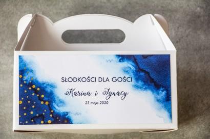 Ślubne Pudełko na Ciasto - prostokątne - Granatowa akwarelowa grafika ze złoconyi kropeczkami