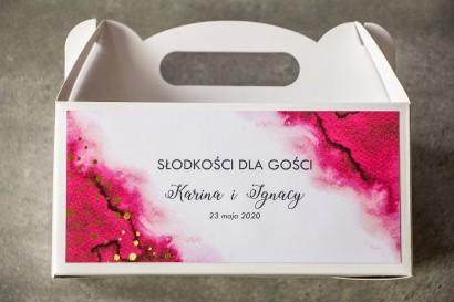 Ślubne Pudełko na Ciasto - prostokątne - Różowa akwarelowa grafika ze złoconyi kropeczkami