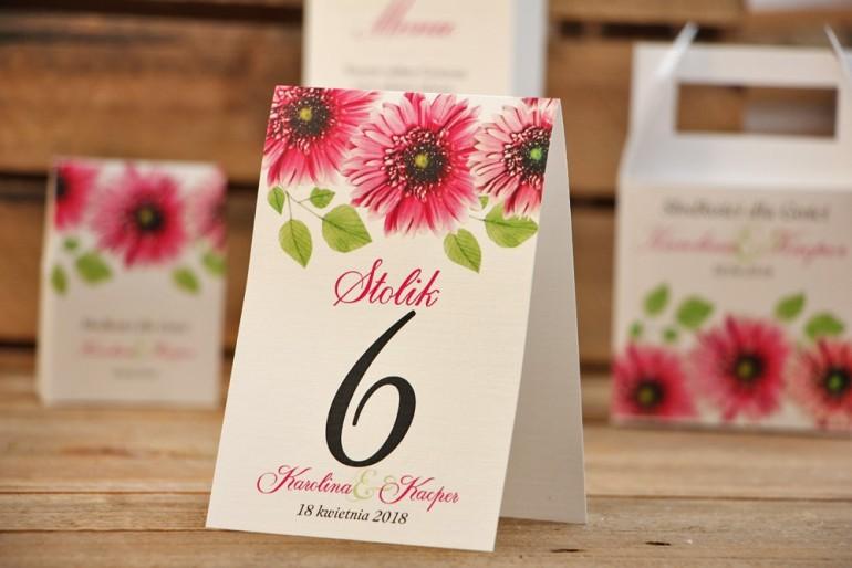 Numery stolików, stół weselny, ślub - Akwarele nr 20 - Różowe gerbery