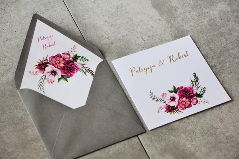 Zaproszenie ślubne Cykade Nr 5 Ze Złoceniem Fioletowe Kwiaty