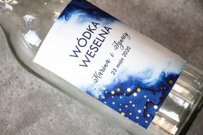 Ślubne Etykiety na butelki na alkohol z granatową etykietą ze złoconymi kropeczkami
