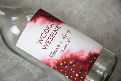 Ślubne Etykiety na butelki na alkohol z burgundową etykietą ze złoconymi kropeczkami