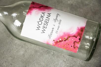 Ślubne Etykiety na butelki na alkohol z różową etykietą ze złoconymi kropeczkami