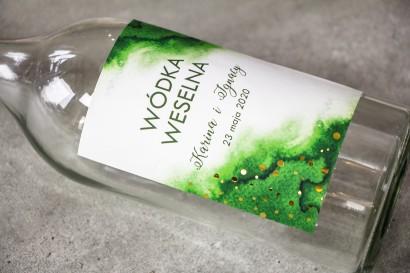 Ślubne Etykiety na butelki na alkohol z zieloną etykietą ze złoconymi kropeczkami