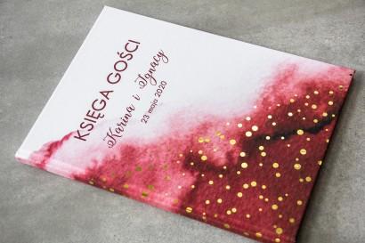 Burgundowa Ślubna Księga Gości ze złoconymi kropeczkami
