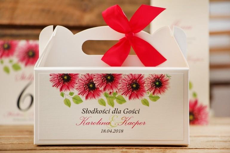 Prostokątne pudełko na ciasto, tort weselny, ślub - Akwarele nr 20 - Różowe gerbery