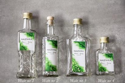 Ślubne Butelki na nalewki wraz z zielną etykietą ze złoconymi kropeczkami