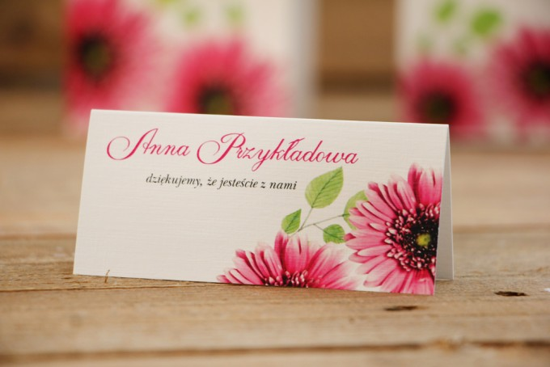 Winietki na stół weselny, ślub - Akwarele nr 20 - Różowe gerbery