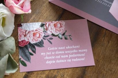 Bilecik do zaproszeń zaproszeń ślubnych w kolorze pudrowego różu