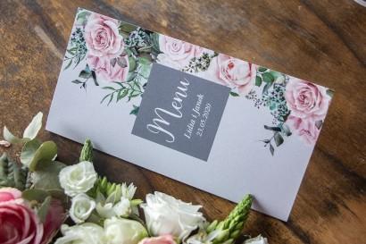 Menu ślubne w kolorze szarym. Kompozycja z białych i pastelowych róż