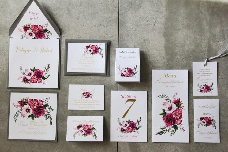 Zaproszenie ślubne z dodatkami - Cykade nr 5 ze złoceniem - Intensywnie fioletowe kwiaty i chłodna zieleń